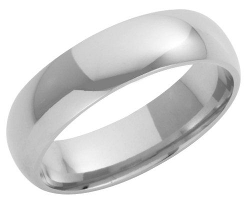 9ct White Gold Gents 6mm Heavy Court-Shape Wedding Ring