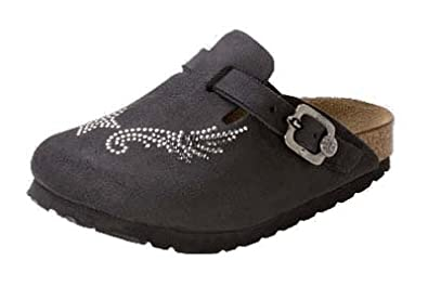 birkenstock boston clog black w/supergrip sole leather