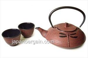 Japanese Cast Iron Tea Pot Tea Set /Dragon Fly Red