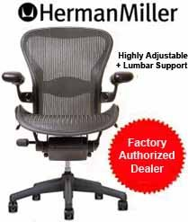 Aeron Chair by Herman Miller - Home Office Desk Task Chair Fully Loaded Highly Adjustable Medium Size (B) - Lumbar Back Support Cushion Graphite Frame Classic Hematite Pellicle