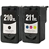 Remanufactured Ink Cartridge Replacement for Canon PG210xl 2973B001 CL211xl 2975B001 (1 Black 1 Color 2 Pack)