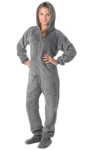 Footed Pajamas Howling Moon Adult Hoodie One Piece - Small Plus/Wide front-185630