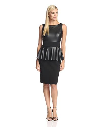 Nue by Shani Women's Faux Leather Combo Dress