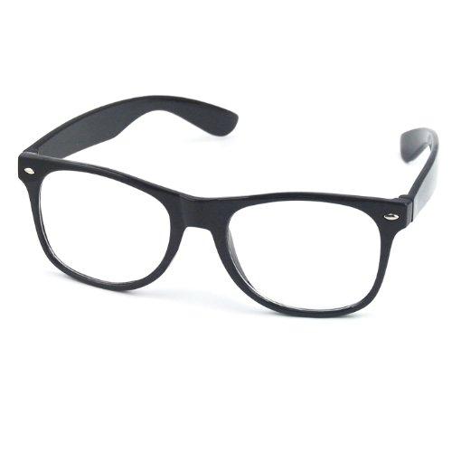 TRIXES Occhiali Wayfarer lenti trasparenti con montatura retrò vintage nerd geek festa