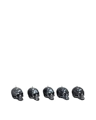 D.L. & Co. Set of 5 Mini Skull Candles (Grey)