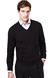 2in Longer Collezione Cotton Rich V-Neck Jumper with Cashmere