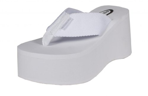 Vacation! By Soda High Platform Wedge Flip-Flop Sandals, White Eva, 7.5 M