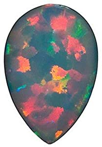 Pear Shape Chatham Created Black Opal Loose Gemstone, Quality Grade, GEM 0.85 carats 9.00 x6.00 mm
