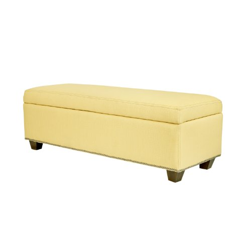 angelo:HOME Kent Storage Bench Ottoman in Washed Buttercream Yellow