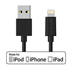 [Apple MFi Certified] ZeroLemon Lightning to USB Plastic PVC Cable 3.2 Feet / 1 Meter + Enhanced Plastic Cap for iPhone, iPod and iPad [2 Year Warranty]-PVC Black