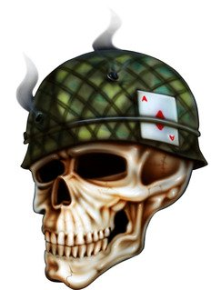 """10"""" army helmet skull color airbrushed design removable reusable peel and stick vinyl wall decal for any smooth surface indoor use.. from Beach Graphic Pros"""