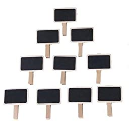 Coolrunner Mini Clip On Blackboard Wooden Chalkboard Shaped Clip For Wedding Birthday Party Decorations 10Pcs (24)