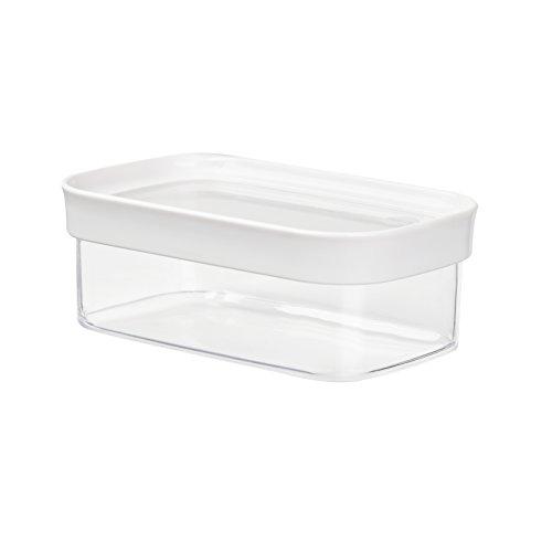 Emsa 513556 Boîte à provision pour produits secs, empilable, 100% hygiène et sécurité ,  0.45 Litre, Rectangulaire, Blanc/Transparent, Optima