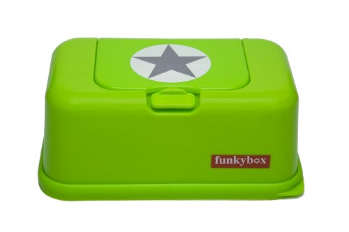 FunkyBox Easy Wipe Dispenser Box Lime Green Silver Star