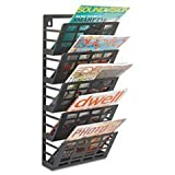 * Grid Magazine Rack 5 Compartments 9-1/2w x 5-1/2d x 21-1/2h Black *