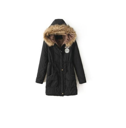 Spring Fever Womens Winter Hooded Fur Collar Thick Padded Long Coat Outerwear Jacket (M, black)