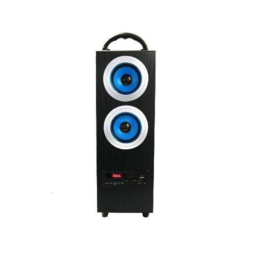 Axess Sp1004-Bl Blue - Portable Rechargeable Box Speaker With Subwoofer, Led Display, Usb Input, Sd Card And Pll Fm