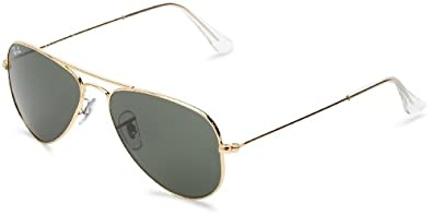 Ray-Ban 0RB3044 Aviator Sunglasses,Arista Frame/Green Lens, 52mm