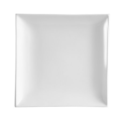 CAC China TOK-21 Tokyia Super White Porcelain Thick Square Plate, 11-1/2-Inch, Box of 8