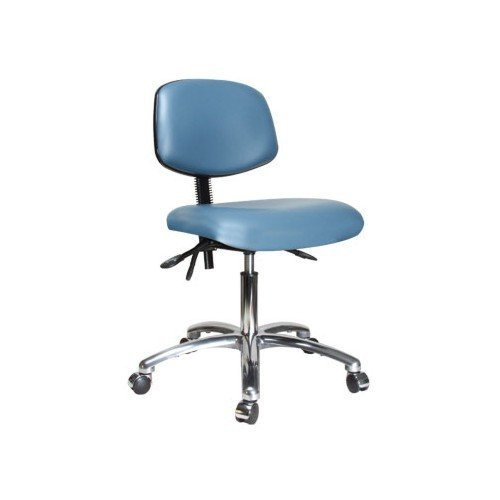 perch chrome rolling laboratory chair with adjustable back support for