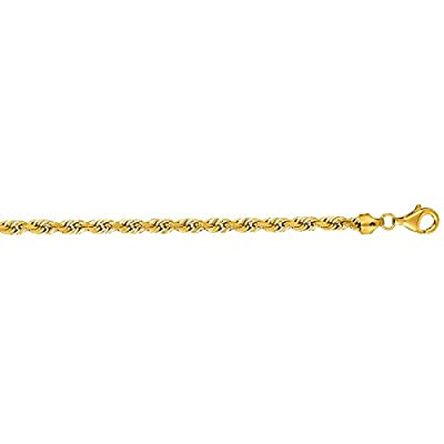 14K Solid Yellow Gold Diamond Cut Rope Bracelet 5mm thick 8 Inches