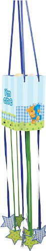 Creative Converting Bears First Birthday Paper Pull-String Pinata, Blue