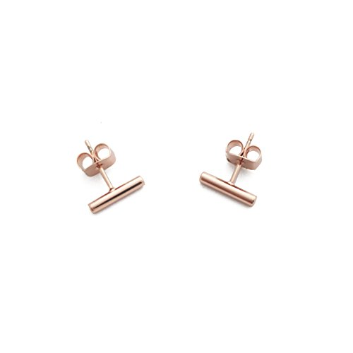 18k Rose Gold Midi Rounded Bar Stud Earrings | Minimalist, Delicate Jewelry