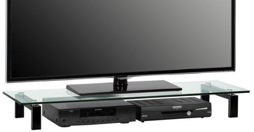 MAJA-Möbel 1605 9599 TV-Board, Metall schwarz – Klarglas, Abmessungen BxHxT: 110 x 12,5 x 35 cm