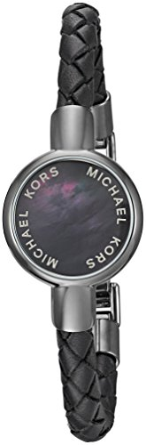 Michael-Kors-Unisex-Crosby-Grey-Mother-of-Pearl-and-Black-Leather-Tracker-Bracelet