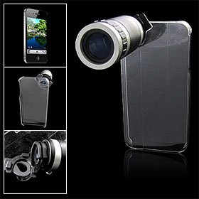 6X Optical Zoom Lens Telescope Camera w Crystal Back Case for iPhone 4 4G