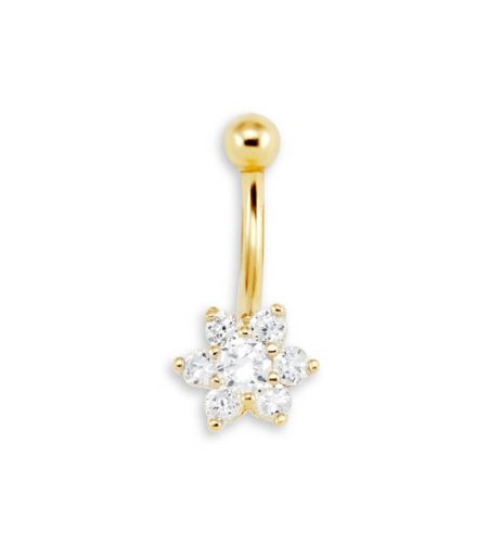 New 14g CZ Flower 14k Yellow Gold Belly Button Ring