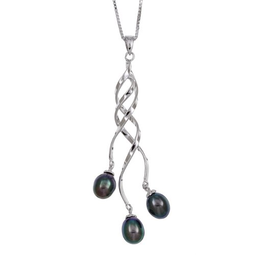 Sterling Silver Twist Black Freshwater Pearl Necklace (6-7 mm)