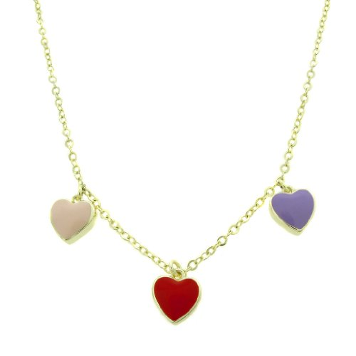 Lily Nily 18k Gold Overlay Children's Multi Colored Enamel Hearts Dangle Necklace