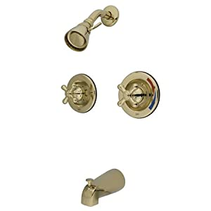 Kingston Brass GKB665AX Oil Rubbed Bronze Vintage Vintage WaterSense Certified Double Handle Tub and Shower Valve Trim Kit with Rough In, Single Function Showerhead, Tub Spout and American Cross Handles GKB66.AX