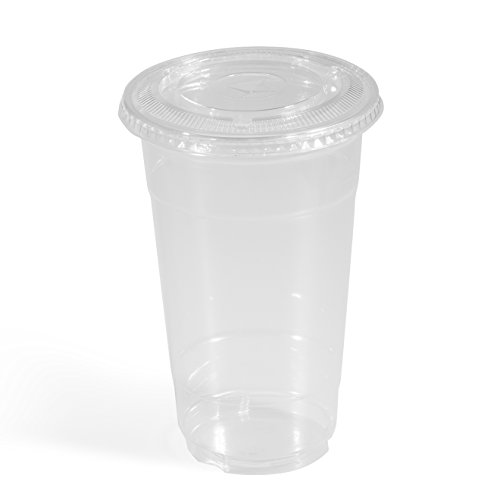 Glotoch 100 Pcs 24 Ounce Clear Plastic Disposable Cups with Flat Lids for Iced Coffee Bubble Boba Tea Smoothie (24 Oz Plastic Cups With Lids compare prices)
