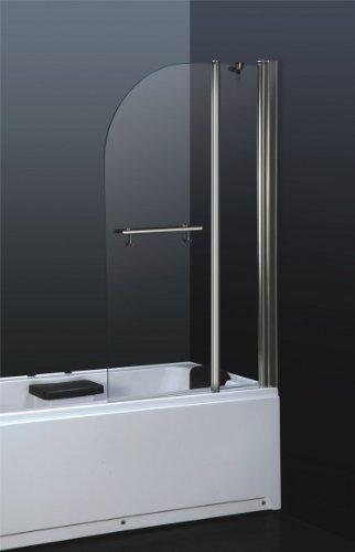 massG® Tempered Glass Aluminum Folding Bathtub Enclosure Shower Screen - 6mm