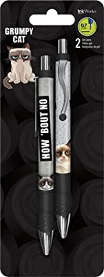 Grumpy Cat Gift Set ~ Includes Gel Pens, Decal, Stickers & Gift Bag ~ Here's a Gift - Now Go Away!