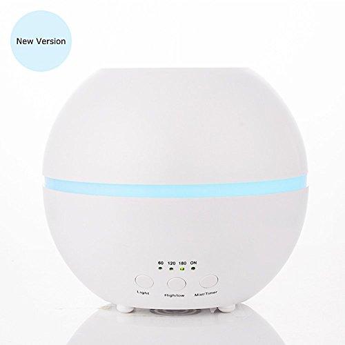 MIU COLOR ® 新型300mlアロマディフューザー 超音波方式 7色変換LEDライト付き 高級加湿器 空気浄化器 芳香療法 (ホワイト)