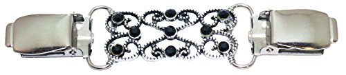 Silver Swirls with Black Crystals Cardigan Clip (Cinch Clip compare prices)
