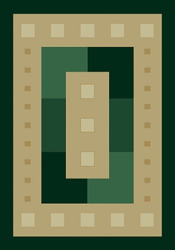 Contemporary Area Rug, United Weavers Manhattan 5'x8' Times Square Hunter Green