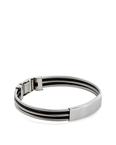 Stephen Oliver Silver and Black Cable ID Bracelet