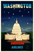American Airlines Washington DC Retro Travel Poster in Plastic Cover