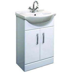 White 550 Vanity Unit & Basin with High Gloss Finish, Shelf and Soft Close Doors