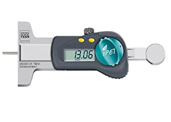 "Brown & Sharpe TESA 00530251 IP67 LCD Depth Gauge, Caliper Type, 0-1""/0-25mm Range, 0.0005""/0.01mm Resolution, +/-0.05mm Accuracy, With Measuring Tip"