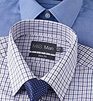 2 Pack Slim Fit Easycare Plain & Checked Shirt with Tie