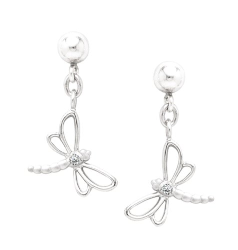 Sterling Silver Diamond Drop Dragonfly Earrings