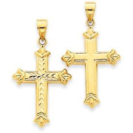 14k Yellow Gold Reversible Diamond Cut Cross Pendant