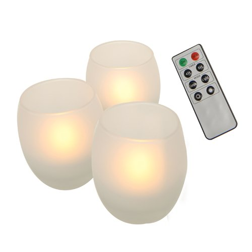 Auraglow Remote Controlled 3pc Frosted Glass Flameless LED Candles Set