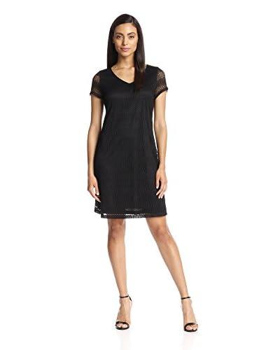 Marc New York Women's Short Sleeve Open-Knit Dress