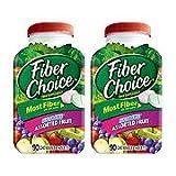 Fiber Choice Fiber Supplement, Sugar-Free Assorted Fruit Chewable Tablets, 90-Count Bottles (Pack of 2)